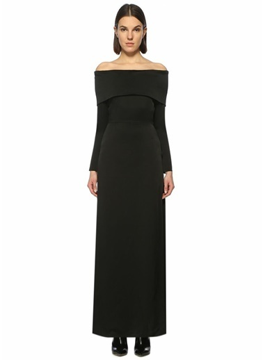 Theory Kayık Yaka Yırtmaçlı Uzun Elbise Siyah